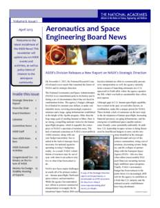 Volume 6 Issue 1 April 2013 Welcome to the latest installment of the ASEB News! This newsletter will