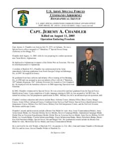 U.S. ARMY SPECIAL FORCES COMMAND (AIRBORNE) BIOGRAPHICAL SKETCH U.S. ARMY SPECIAL OPERATIONS COMMAND PUBLIC AFFAIRS OFFICE FORT BRAGG, NC[removed][removed]http://www.soc.mil