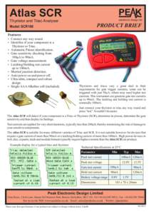 Atlas SCR electronic design ltd Thyristor and Triac Analyser  PRODUCT BRIEF