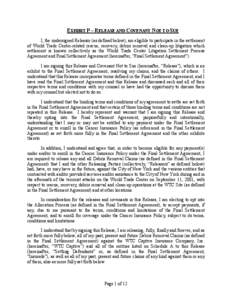EXHIBIT P – RELEASE AND COVENANT NOT TO SUE I, the undersigned Releasor (as defined below), am eligible to participate in the settlement of World Trade Center-related rescue, recovery, debris removal and clean-up litig
