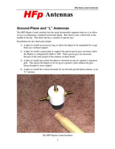 """HFp Antennas  HFp Notes and Comments Ground-Plane and """"L"""" Antennas The HFP Dipole Center insulator has the usual horizontally-opposed studs on it, to allow"""
