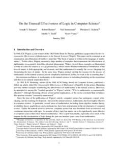 On the Unusual Effectiveness of Logic in Computer Science  Joseph Y. Halpern Robert Harper  Neil Immerman