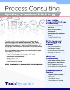 Process Consulting Optimize your investment in technology Project Portfolio Management Methodology & Best Practices • Introduction to Project Portfolio