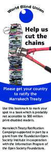 Please get your country to ratify the Marrakech Treaty Use this bookmark to mark your spot in a book which is probably not accessible to 500 million