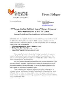2007 Anisfield-Wolf Book Awards Press Release