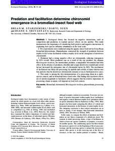 Ecological Entomology (2010), 35, 53–60  DOI: j01155.x Predation and facilitation determine chironomid emergence in a bromeliad-insect food web