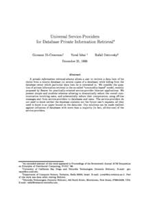 Universal Service-Providers for Database Private Information Retrieval Giovanni Di-Crescenzoy Yuval Ishai z December 21, 1999
