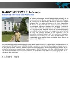 DADDY SETYAWAN: Indonesia Benchmark calculation for BWR reactor. Mr. Daddy Setyawan was awarded a three-month fellowship by the International Atomic Energy Agency (IAEA) Fellowship Program. He is undergoing his fellowshi