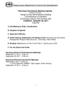 Kitsap County Department of Community Development Planning Commission Meeting Agenda (Subject to Change) Kitsap County Administration Building Commissioner's Chambers