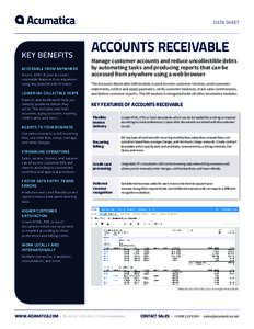 DATA SHEET  KEY BENEFITS ACCESSIBLE FROM ANYWHERE Access 100% of your accounts receivable features from anywhere