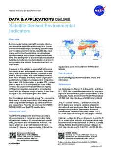 National Aeronautics and Space Administration  DATA & APPLICATIONS Satellite-Derived Environmental Indicators