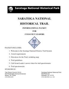 Saratoga National Historical Park  SARATOGA NATIONAL HISTORICAL TRAIL INFORMATIONAL PACKET FOR
