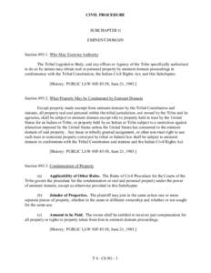 CIVIL PROCEDURE  SUBCHAPTER G EMINENT DOMAIN  SectionWho May Exercise Authority