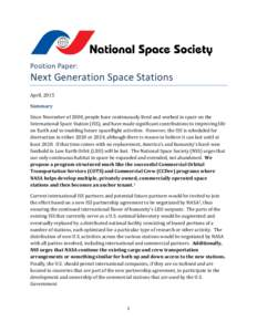 Position Paper:  Next Generation Space Stations April, 2015 Summary