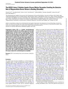 Cerebral Cortex Advance Access published September 30, 2014 Cerebral Cortex doi:cercor/bhu234 The DCDC2 Intron 2 Deletion Impairs Illusory Motion Perception Unveiling the Selective Role of Magnocellular-Dorsal St