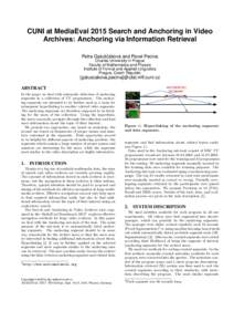 CUNI at MediaEval 2015 Search and Anchoring in Video Archives: Anchoring via Information Retrieval Petra Galušˇcáková and Pavel Pecina Charles University in Prague Faculty of Mathematics and Physics Institute of Form