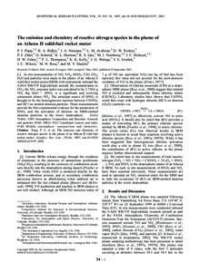 GEOPHYSICAL RESEARCH LETTERS, VOL. 29, NO. 18, 1887, doi:2002GL015197, 2002  The emission and chemistry of reactive nitrogen species in the plume of an Athena II solid-fuel rocket motor P. J. Popp,1,2 B. A. Ridle