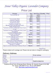 Stour Valley Organic Lavender Company PriceList Product Size
