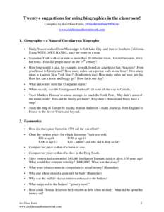 Twenty+ suggestions for using biographies in the classroom
