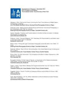 dissertations in progress art history