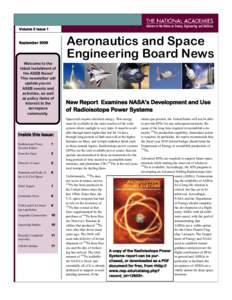 Volume 2 Issue 1  Aeronautics and Space Engineering Board News  September 2009