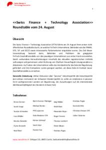 1  <<Swiss Finance + Technology Roundtable vom 24. August  Association>>
