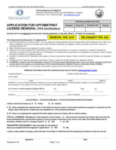 State Board of Optometry - Application for Optometrist License Renewal