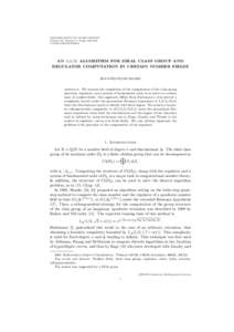 MATHEMATICS OF COMPUTATION Volume 00, Number 0, Pages 000–000 SXXAN L(1/3) ALGORITHM FOR IDEAL CLASS GROUP AND REGULATOR COMPUTATION IN CERTAIN NUMBER FIELDS