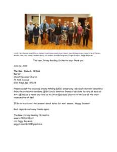 L to R: Ron Naspo, Janet Cicero, Roland Hutchinson (and church bass), Evan Schwartzman, Lucy Li, Herb Steiner, Noriko Kubo, Len Tobias, Barbara Bivin, Jim Jordan, Jennifer Seligman, Ginger Gordon, Peggy Reynolds The New