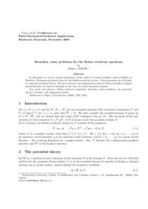 """,, Caius Iacob"""" Conference on Fluid Mechanics&Technical Applications Bucharest, Romania, November 2005 Boundary value problems for the Stokes resolvent equations by"""
