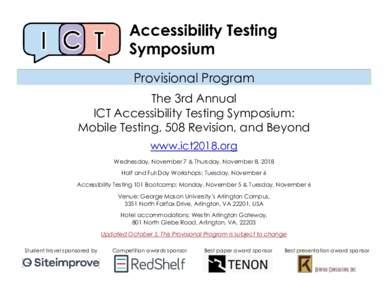 The 2018 ICT Accessibility Testing Symposium: Provisional Program