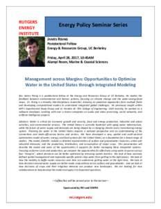 RUTGERS ENERGY INSTITUTE Energy Policy Seminar Series JAMES RISING