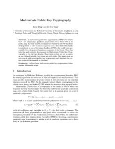 Multivariate Public Key Cryptography Jintai Ding 1  2