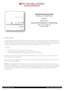ADVANCE INFORMATION  Disciplined Entrepreneurship 24 Steps to a Successful Startup  Bill Aulet