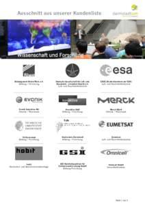 Ausschnitt aus unserer Kundenliste  Copyright Eumetsat Bildungswerk Rhein/Main e.V. Bildung / Forschung
