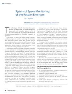 Cover story  System of Space Monitoring of the Russian Emercom By A. Epikhin1 Key words: system of emergency monitoring from space, National Center