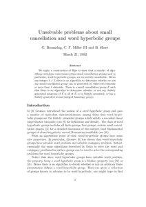 Unsolvable problems about small cancellation and word hyperbolic groups G. Baumslag, C. F. Miller III and H. Short