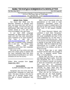 NUMU TEKWAPUHA NOMENEEKATU NEWSLETTER Oct-Nov-Dec 2011 Vol. #14 Issue #4  The Comanche Language & Cultural Preservation Committee
