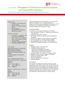 In a nutshell   Management of Technical and Vocational Education and Training (TVET) Institutions  International Human Capacity Development for Technical and Vocational Education and Training