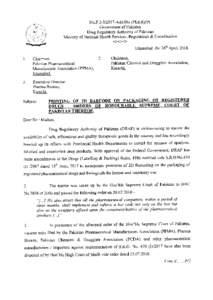 t  No.F.2-3l20 1 7-Add:Dir.(PE&R),Pt. Govemment of Pakistan Drug Regulatory Authority of Pakistan Regulations & Coordination