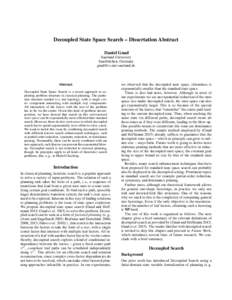 Decoupled State Space Search – Dissertation Abstract Daniel Gnad Saarland University Saarbr¨ucken, Germany
