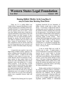Western States Legal Foundation Issue Brief SummerBanning Ballistic Missiles: In the Long Run, It