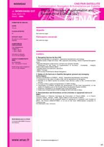 CNS PAR SATELLITE Communication,Navigation&SurveillanceparSatellite NOUVEAU réf.WORKGNSS CodeOACI179