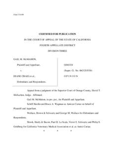 FiledCERTIFIED FOR PUBLICATION IN THE COURT OF APPEAL OF THE STATE OF CALIFORNIA FOURTH APPELLATE DISTRICT DIVISION THREE