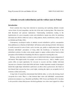Kinga Wysienska-Di Carlo and Matthew Di Carlo  ISBN4 Attitudes towards redistribution and the welfare state in Poland Introduction