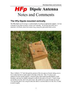 HFp Dipole Notes and Comments  HFp Dipole Antenna Notes and Comments