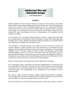 """Summary WANGO together with the Permanent Missions of Grenada and The Gambia to the United Nations held an event entitled """"Intellectual War and Extremist Groups"""" at the UN Headquarters in New York on April 7, 2016. T"""