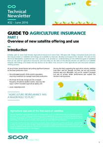 Technical Newsletter #32 - June 2016 GUIDE TO AGRICULTURE INSURANCE PART I
