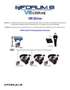 VR-Drive VR-Drive is a comprehensive driving training simulator (DS) system based on the award winning Real-time Interactive 3D VR Simulation & Modeling software VR-Design Studio from Japanese VR specialists FORUM8. VR-D