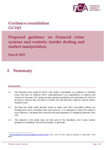 Guidance consultation GC18/1 Proposed guidance on financial crime systems and controls: insider dealing and market manipulation March 2018